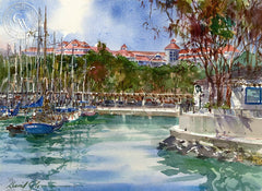 The Mariott, California art by David Solomon. HD giclee art prints for sale at CaliforniaWatercolor.com - original California paintings, & premium giclee prints for sale