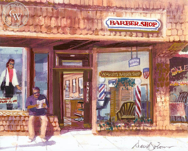 Walley's Barber Shop, Laguna, California art by David Solomon. HD giclee art prints for sale at CaliforniaWatercolor.com - original California paintings, & premium giclee prints for sale