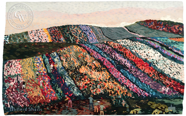 A Tapestry of a painting by Millard Sheets called Flower Fields