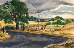 Pilot Hill, California art by Don Bester. HD giclee art prints for sale at CaliforniaWatercolor.com - original California paintings, & premium giclee prints for sale