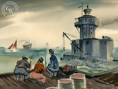 Harbor Fishing by Don David, an early California watercolor painting, original California watercolor art for sale - CaliforniaWatercolor.com