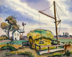 Don David - Sacramento Valley, 1938, California art, original California watercolor art for sale - CaliforniaWatercolor.com
