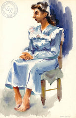 Don David - The Model in Loren Barton's Class, 1946, California art, original California watercolor art for sale, fine art print for sale, giclee watercolor print - CaliforniaWatercolor.com