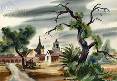 Don David - Village Scene Near Sacramento, 1937, California art, original California watercolor art for sale - CaliforniaWatercolor.com