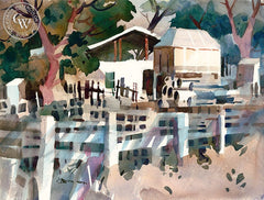 Don O'Neill - Fences and Barn on Orange Street - California art - Californiawatercolor.com