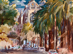 Don O'Neill - Mission Inn, Riverside, c. 1970's - California watercolor art - Californiawatercolor.com