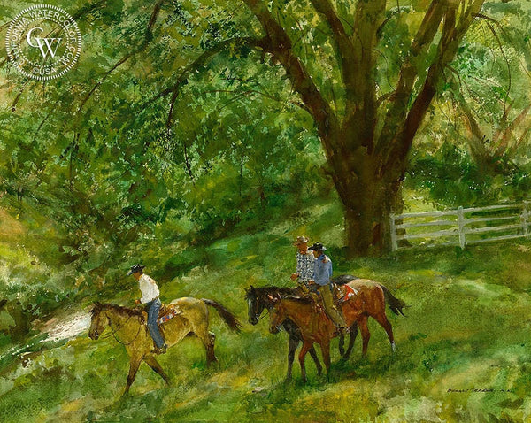 A Spring Morning on the Smith Hereford Ranch, California art by Donald Teague. HD giclee art prints for sale at CaliforniaWatercolor.com - original California paintings, & premium giclee prints for sale