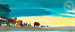 A Circus on the Move, 1963, from the movie Circus World starring John Wayne, California art by Dong Kingman. HD giclee art prints for sale at CaliforniaWatercolor.com - original California paintings, & premium giclee prints for sale