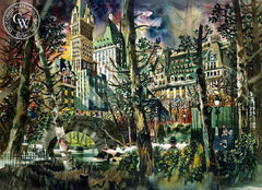 A Day in Central Park, 1949, a watercolor painting by Dong Kingman. HD giclee art prints for sale at CaliforniaWatercolor.com - original California paintings, & premium giclee prints for sale