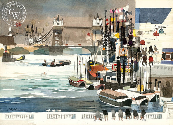 View from London Bridge, 1959, California art by Dong Kingman. HD giclee art prints for sale at CaliforniaWatercolor.com - original California paintings, & premium giclee prints for sale