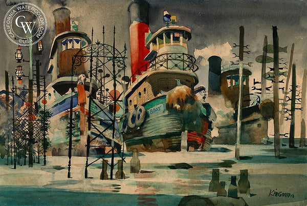 Brooklyn Tug Boats, c. 1946, California art by Dong Kingman. HD giclee art prints for sale at CaliforniaWatercolor.com - original California paintings, & premium giclee prints for sale