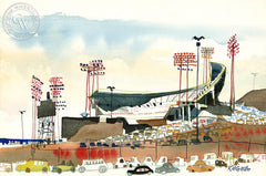 Candlestick Park, c. 1967, California art by Dong Kingman. HD giclee art prints for sale at CaliforniaWatercolor.com - original California paintings, & premium giclee prints for sale