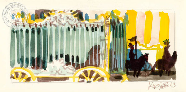 Circus Cage, 1963, from the movie Circus World starring John Wayne, California art by Dong Kingman. HD giclee art prints for sale at CaliforniaWatercolor.com - original California paintings, & premium giclee prints for sale