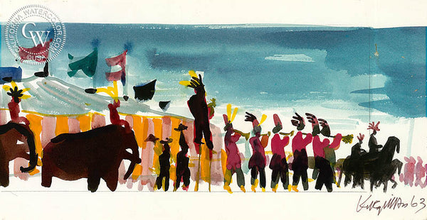 Circus Parade Begins, 1963, from the movie Circus World starring John Wayne, California art by Dong Kingman. HD giclee art prints for sale at CaliforniaWatercolor.com - original California paintings, & premium giclee prints for sale
