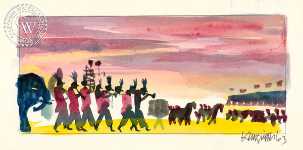 Circus Parade, 1963, from the movie Circus World starring John Wayne, California art by Dong Kingman. HD giclee art prints for sale at CaliforniaWatercolor.com - original California paintings, & premium giclee prints for sale
