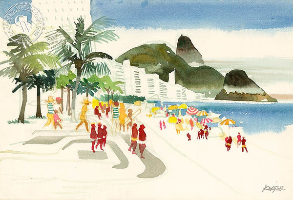 Copacabana Beach, Rio de Janeiro, Brazil, c. 1975, California art by Dong Kingman. HD giclee art prints for sale at CaliforniaWatercolor.com - original California paintings, & premium giclee prints for sale