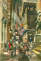 Don't Eat Joe, Wall Street, 1948, California art by Dong Kingman. HD giclee art prints for sale at CaliforniaWatercolor.com - original California paintings, & premium giclee prints for sale