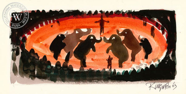 Elephant Dance, 1963, from the movie Circus World starring John Wayne, California art by Dong Kingman. HD giclee art prints for sale at CaliforniaWatercolor.com - original California paintings, & premium giclee prints for sale