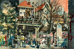 End of the El, 1955, California art by Dong Kingman. HD giclee art prints for sale at CaliforniaWatercolor.com - original California paintings, & premium giclee prints for sale