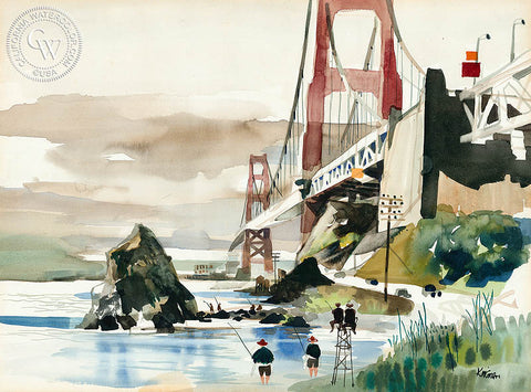 Golden Gate Bridge, California watercolor art by Dong Kingman. HD giclee art prints for sale at CaliforniaWatercolor.com - original California paintings, & premium giclee prints for sale