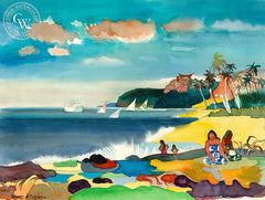 Hawaiian Women, 1973, California art by Dong Kingman. HD giclee art prints for sale at CaliforniaWatercolor.com - original California paintings, & premium giclee prints for sale