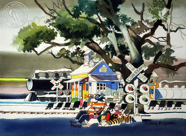Horn Blowers, 1971, California art by Dong Kingman. HD giclee art prints for sale at CaliforniaWatercolor.com - original California paintings, & premium giclee prints for sale
