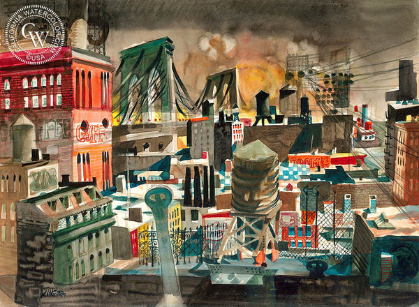 Looking East, Brooklyn Bridge, 1948, California art by Dong Kingman. HD giclee art prints for sale at CaliforniaWatercolor.com - original California paintings, & premium giclee prints for sale