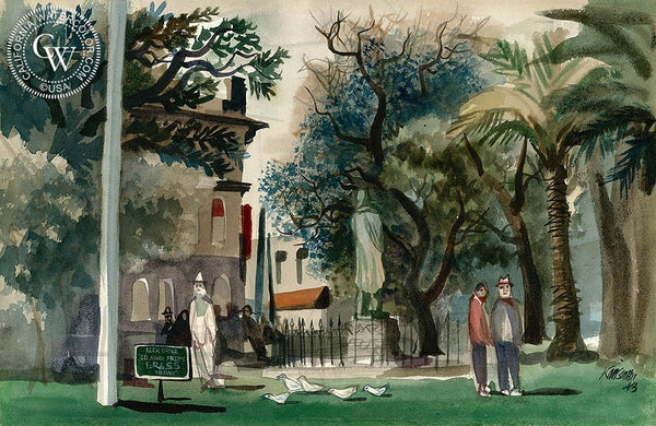 Los Angeles City Park, 1943, California art by Dong Kingman. HD giclee art prints for sale at CaliforniaWatercolor.com - original California paintings, & premium giclee prints for sale