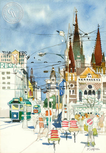 Melbourne, Australia, 1950, California art by Dong Kingman. HD giclee art prints for sale at CaliforniaWatercolor.com - original California paintings, & premium giclee prints for sale