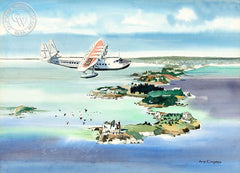 Pan Am Clipper Over Bermuda, California art by Dong Kingman. HD giclee art prints for sale at CaliforniaWatercolor.com - original California paintings, & premium giclee prints for sale