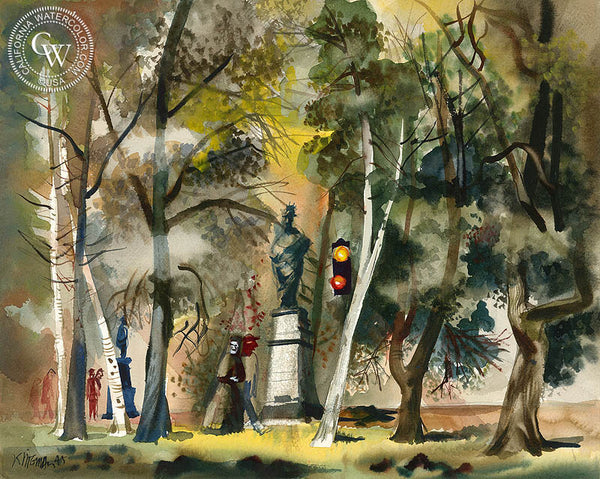Park Scene, 1945, California watercolor art by Dong Kingman. HD giclee art prints for sale at CaliforniaWatercolor.com - original California paintings, & premium giclee prints for sale