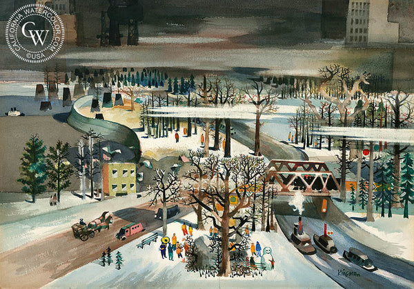 New York, Central Park, 1957, California art by Dong Kingman. HD giclee art prints for sale at CaliforniaWatercolor.com - original California paintings, & premium giclee prints for sale