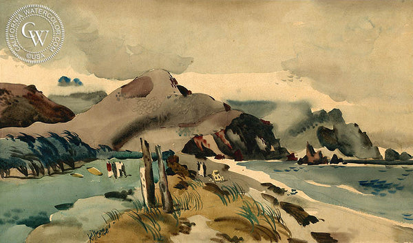 Pebble Beach, c. 1930's, California art by Dong Kingman. HD giclee art prints for sale at CaliforniaWatercolor.com - original California paintings, & premium giclee prints for sale
