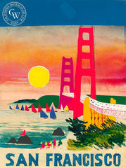 San Francisco, 1972, California art by Dong Kingman. HD giclee art prints for sale at CaliforniaWatercolor.com - original California paintings, & premium giclee prints for sale