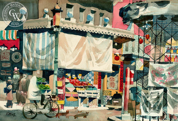 Sing Chung Chinatown, 1951, California art by Dong Kingman. HD giclee art prints for sale at CaliforniaWatercolor.com - original California paintings, & premium giclee prints for sale