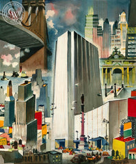 Visitors to New York, California art by Dong Kingman. HD giclee art prints for sale at CaliforniaWatercolor.com - original California paintings, & premium giclee prints for sale