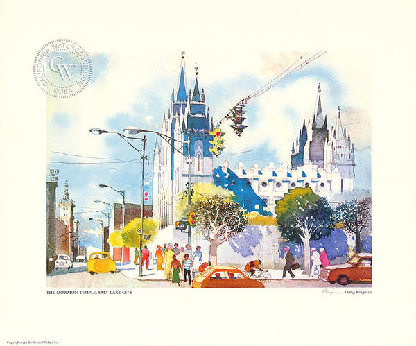 The Mormon Temple, Salt Lake City, a limited edition lithograph by Dong Kingman. HD giclee art prints for sale at CaliforniaWatercolor.com - original California paintings, & premium giclee prints for sale