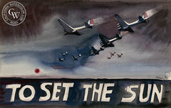 To Set the Sun, c. 1940's, California art by Dong Kingman. HD giclee art prints for sale at CaliforniaWatercolor.com - original California paintings, & premium giclee prints for sale