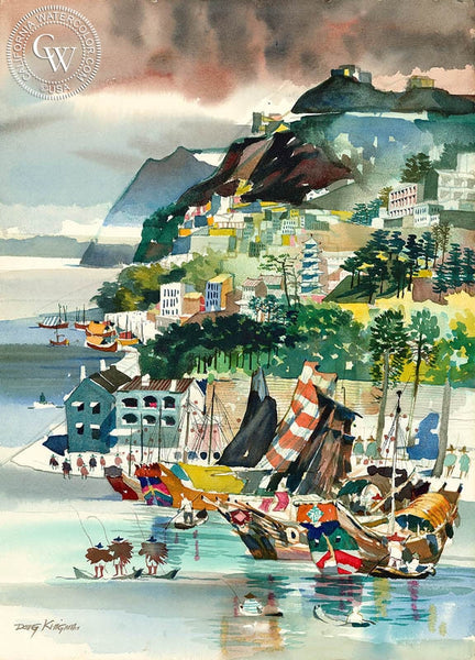 Typhoon Shelter, Hong Kong, 1961, California art by Dong Kingman. HD giclee art prints for sale at CaliforniaWatercolor.com - original California paintings, & premium giclee prints for sale