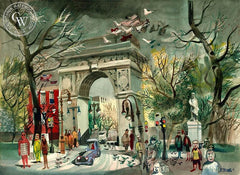 Washington Square, 1946, California art by Dong Kingman. HD giclee art prints for sale at CaliforniaWatercolor.com - original California paintings, & premium giclee prints for sale