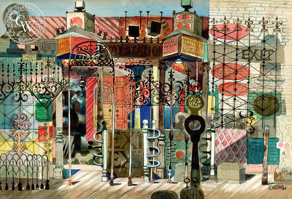 Where When That Way, c. 1950, California art by Dong Kingman. HD giclee art prints for sale at CaliforniaWatercolor.com - original California paintings, & premium giclee prints for sale