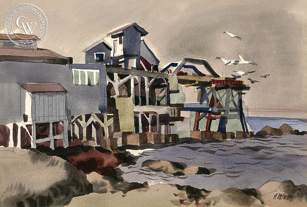 Cannery Row, Monterey, 1940, California art by Dong Kingman. HD giclee art prints for sale at CaliforniaWatercolor.com - original California paintings, & premium giclee prints for sale