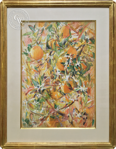 Donna Schuster, Oranges and Blossoms, a mixed media painting, California art, California painting, early American art, floral art, botanical art, CaliforniaWatercolor.com