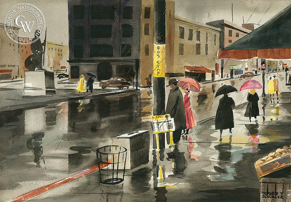 Bus Stop, California art by Dorner T. Schueler. HD giclee art prints for sale at CaliforniaWatercolor.com - original California paintings, & premium giclee prints for sale