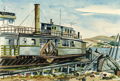 Vallejo Ferry, 1956, California art by Dorner T. Schueler. HD giclee art prints for sale at CaliforniaWatercolor.com - original California paintings, & premium giclee prints for sale