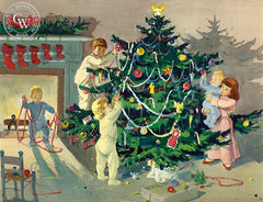 Decorating the Tree, 1949, California art by Dorothea Cooke (Gramatky). HD giclee art prints for sale at CaliforniaWatercolor.com - original California paintings, & premium giclee prints for sale
