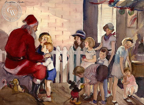 Visit to Santa, 1936, California art by Dorothea Cooke (Gramatky). HD giclee art prints for sale at CaliforniaWatercolor.com - original California paintings, & premium giclee prints for sale