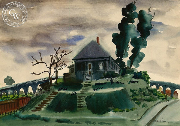 House Near the Tracks, 1946, California art by Dorothy Sklar. HD giclee art prints for sale at CaliforniaWatercolor.com - original California paintings, & premium giclee prints for sale