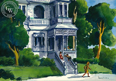 The Bannister, 1946, California art by Dorothy Sklar. HD giclee art prints for sale at CaliforniaWatercolor.com - original California paintings, & premium giclee prints for sale