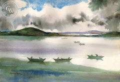 Fisherman in Boats, California art by Douglas Grant. HD giclee art prints for sale at CaliforniaWatercolor.com - original California paintings, & premium giclee prints for sale